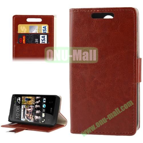 Crazy Horse Pattern Leather Case for HTC Desire 300 with Credit Card Slot & Holder (Brown)