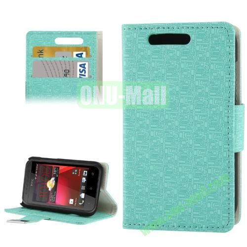 Maze Lattice Pattern Leather Cover for HTC Desire 200 with Credit Card Slot & Holder (Light Blue)