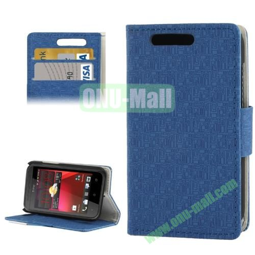 Maze Lattice Pattern Leather Cover for HTC Desire 200 with Credit Card Slot & Holder (Blue)