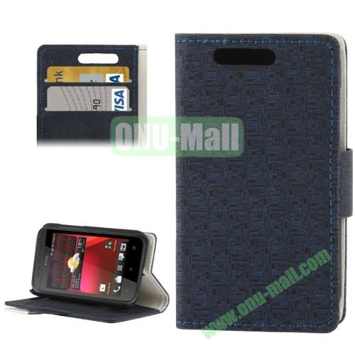 Maze Lattice Pattern Leather Cover for HTC Desire 200 with Credit Card Slot & Holder (Black)