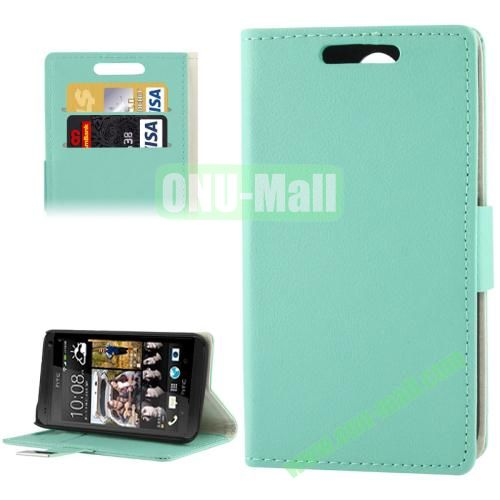 Litchi Texture Leather Case for HTC Desire 300  Zara mini with Credit Card Slot & Holder (Blue)
