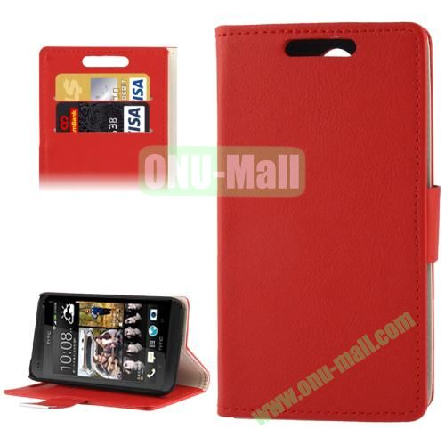 Litchi Texture Leather Case for HTC Desire 300  Zara mini with Credit Card Slot & Holder (Red)