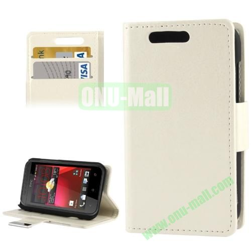 Crazy Horse Pattern Leather Case for HTC Desire 200 with Credit Card Slot & Holder (White)
