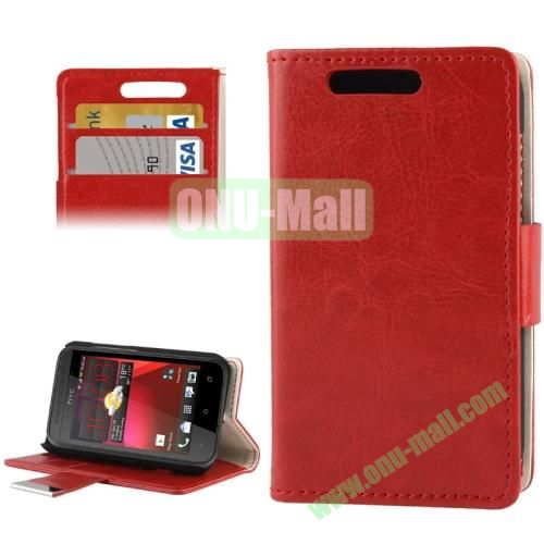 Crazy Horse Pattern Leather Case for HTC Desire 200 with Credit Card Slot & Holder (Red)
