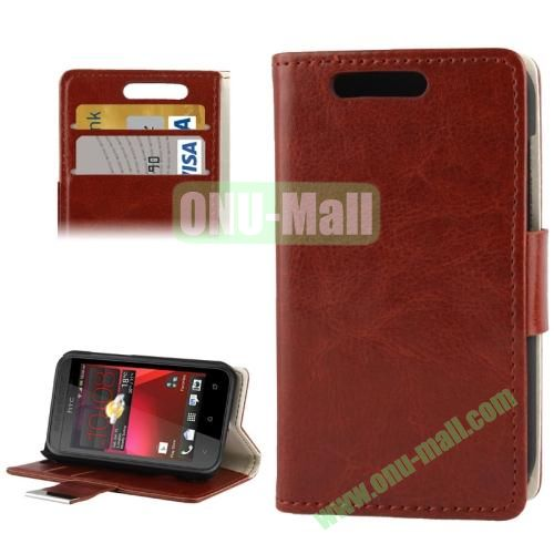 Crazy Horse Pattern Leather Case for HTC Desire 200 with Credit Card Slot & Holder (Brown)