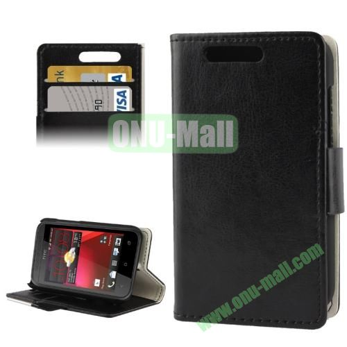 Crazy Horse Pattern Leather Case for HTC Desire 200 with Credit Card Slot & Holder (Black)
