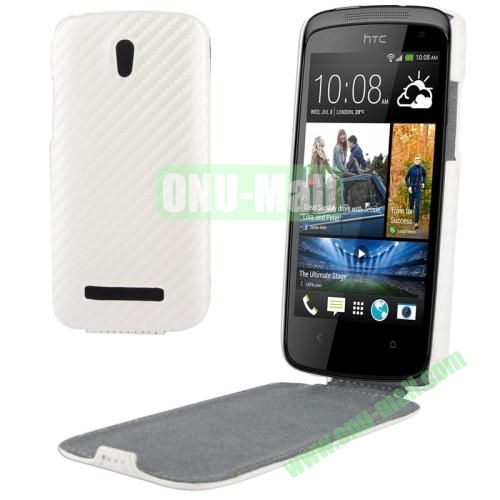 Carbon Fiber Texture Vertical Leather Case for HTC Desire 500  506e (White)
