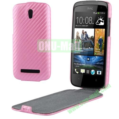 Carbon Fiber Texture Vertical Leather Case for HTC Desire 500  506e (Pink)