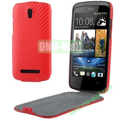 Carbon Fiber Texture Vertical Leather Case for HTC Desire 500  506e (Red)