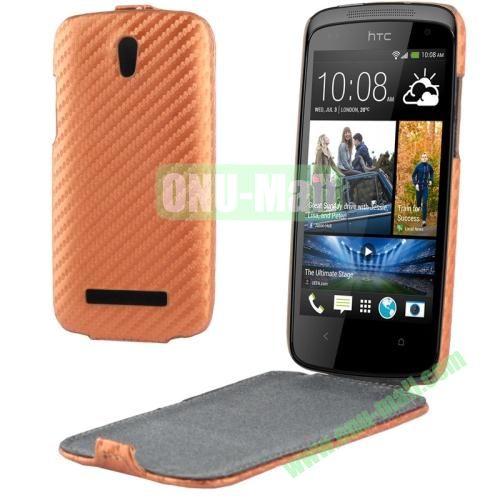 Carbon Fiber Texture Vertical Leather Case for HTC Desire 500  506e (Brown)