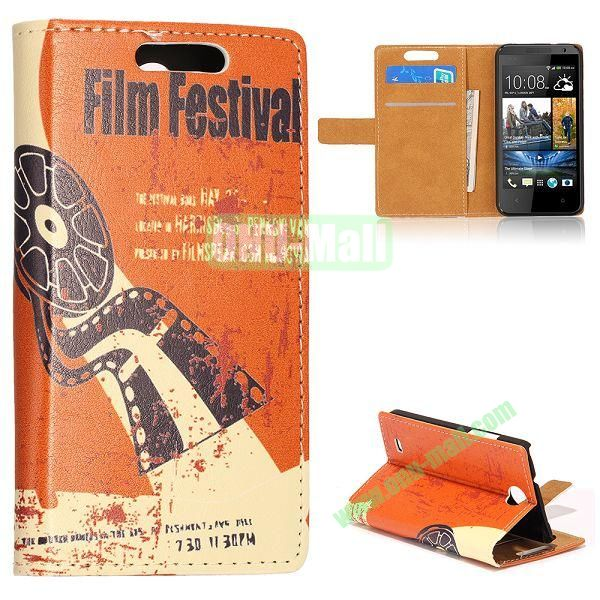 Unique Flip-open Leather Case with Stand Function and Card Slot for HTC Desire 300 (With Film Festival Pattern)