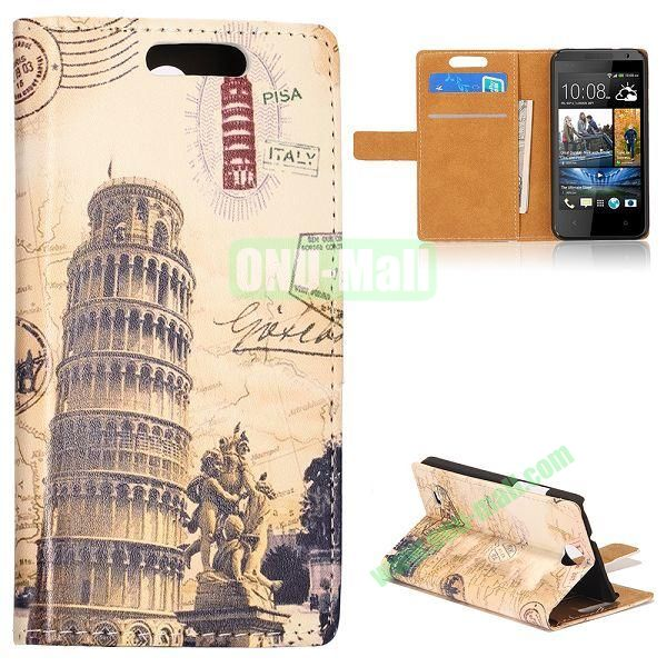 Unique Flip-open Leather Case with Stand Function and Card Slot for HTC Desire 300 (With Leaning Tower of Pisa Pattern)