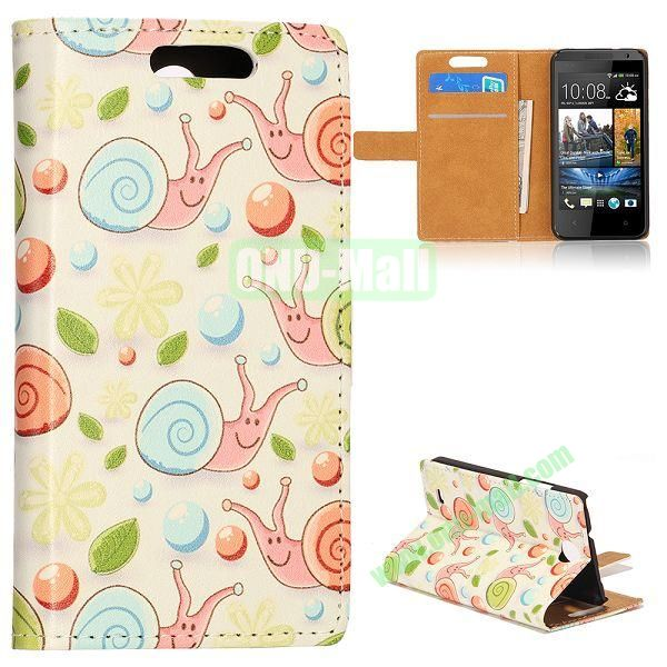 Unique Flip-open Snail Cartoon Pattern Leather Case with Stand Function and Card Slot for HTC Desire 300 (Light Green Background)