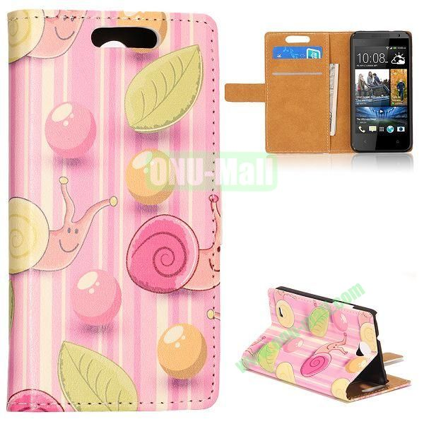 Unique Flip-open Snail Cartoon Pattern Leather Case with Stand Function and Card Slot for HTC Desire 300 (Pink Background)