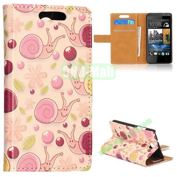 Unique Flip-open Snail Cartoon Pattern Leather Case with Stand Function and Card Slot for HTC Desire 300 (Light Yellow Background)