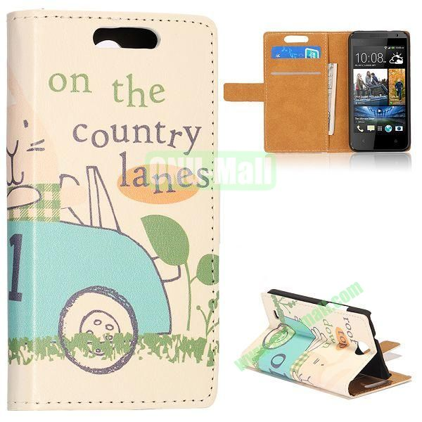Unique Flip-open Leather Case with Stand Function and Card Slot for HTC Desire 300 (Blue Cartoon Car Pattern)