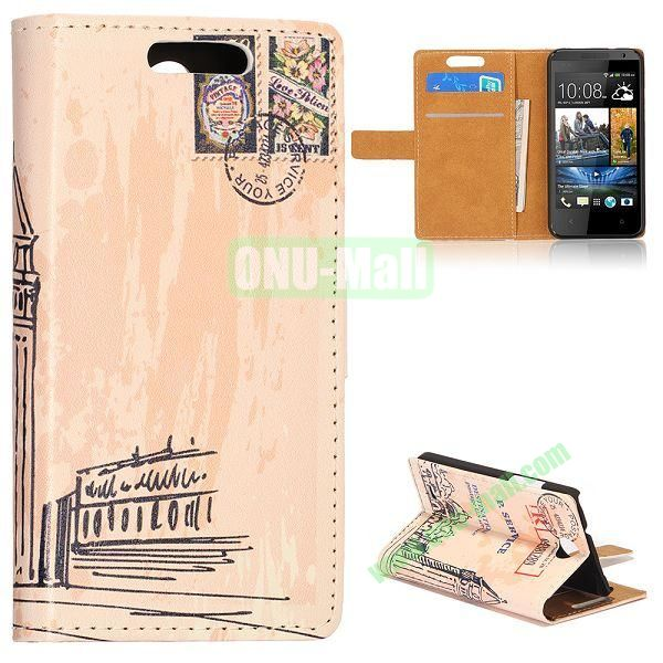 Unique Flip-open Leather Case with Stand Function and Card Slot for HTC Desire 300 (Big Ben of London)