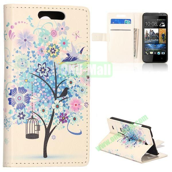 Unique Flip-open Leather Case with Stand Function and Card Slot for HTC Desire 300 (Blue Flower Tree Pattern)