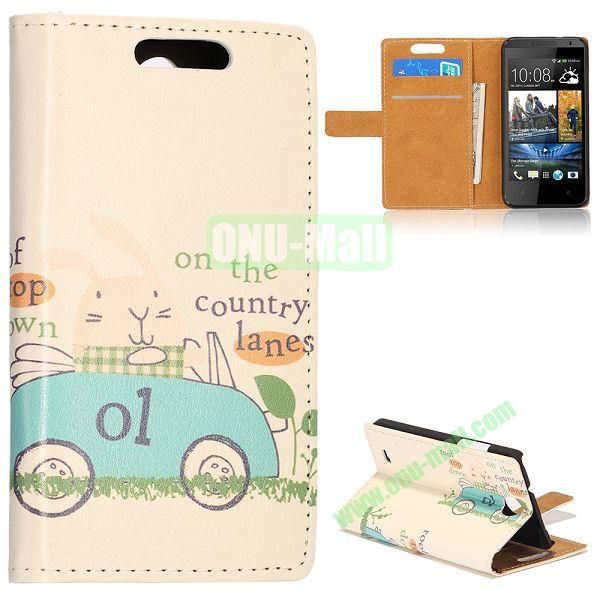 Unique Flip-open Leather Case with Stand Function and Card Slot for HTC Desire 300 (Cute Cartoon Car Pattern)