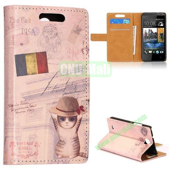 Unique Flip-open Leather Case with Stand Function and Card Slot for HTC Desire 300 (Cat and Belgium Flag Pattern)