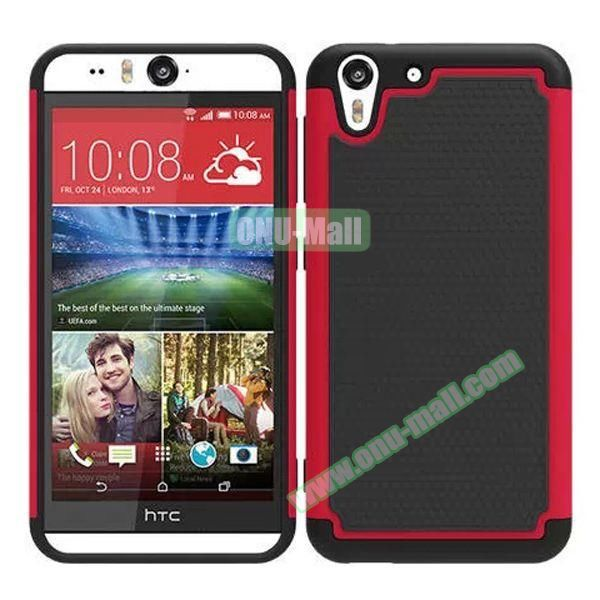 Football Pattern Hybrid Silicone and PC Rugged Protective Case for HTC Desire Eye (Red)