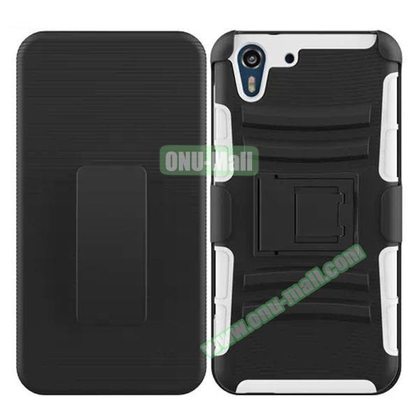 3 in 1 Pattern Heavy Duty Detachable Silicone and PC Case for HTC Desire Eye with Belt Clip Holster (White)