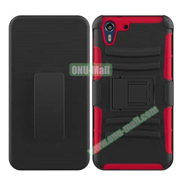 3 in 1 Pattern Heavy Duty Detachable Silicone and PC Case for HTC Desire Eye with Belt Clip Holster (Red)