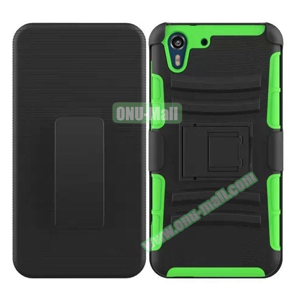 3 in 1 Pattern Heavy Duty Detachable Silicone and PC Case for HTC Desire Eye with Belt Clip Holster (Green)