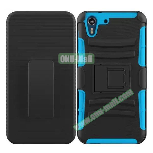 3 in 1 Pattern Heavy Duty Detachable Silicone and PC Case for HTC Desire Eye with Belt Clip Holster (Light Blue)