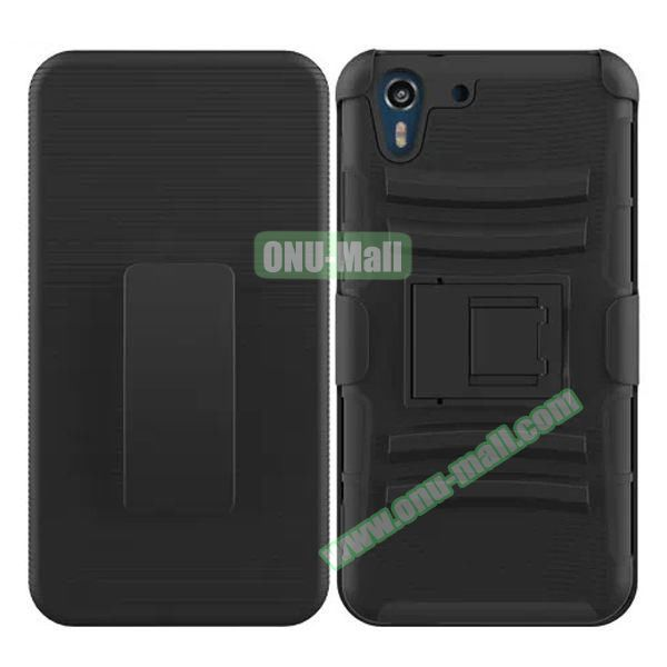3 in 1 Pattern Heavy Duty Detachable Silicone and PC Case for HTC Desire Eye with Belt Clip Holster (Black)