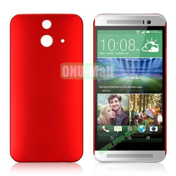 Pure Color Rubberized Coating Hard Plastic Case for HTC One E8 Ace (Red)