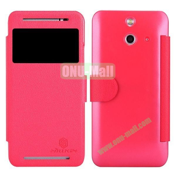 Nillkin Fresh Series Caller ID Display Window Magnetic Flip PC + PU Leather Case for HTC One E8 (Red)
