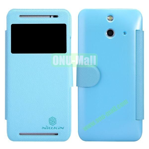 Nillkin Fresh Series Caller ID Display Window Magnetic Flip PC + PU Leather Case for HTC One E8 (Blue)
