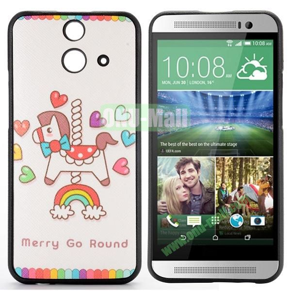 Cartoon Pattern Cross Texture Leather Coated TPU Cover Case for HTC One (E8) Ace (Carousel Heart and Rainbow)