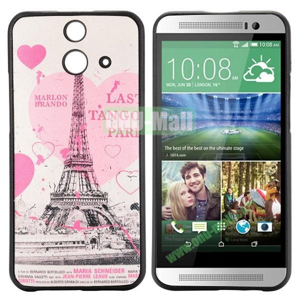 Cartoon Pattern Cross Texture Leather Coated TPU Cover Case for HTC One (E8) Ace (Beautiful Eiffel Tower)