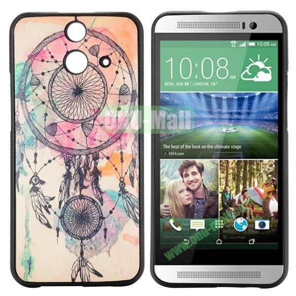 Cartoon Pattern Cross Texture Leather Coated TPU Cover Case for HTC One (E8) Ace (Beautiful Dreamcatcher)