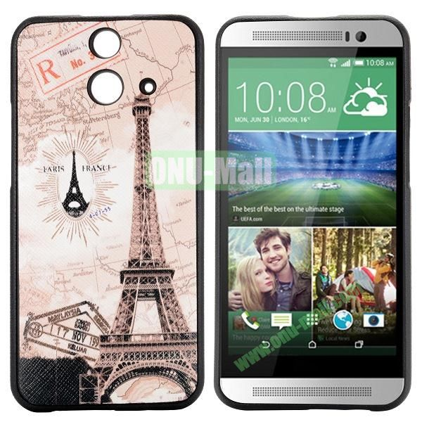 Cartoon Pattern Cross Texture Leather Coated TPU Cover Case for HTC One (E8) Ace (Eiffel Tower)