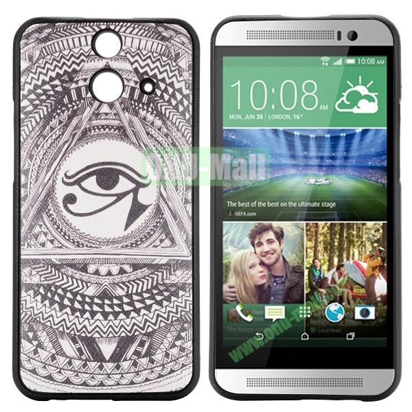 Cartoon Pattern Cross Texture Leather Coated TPU Cover Case for HTC One (E8) Ace (Eye)