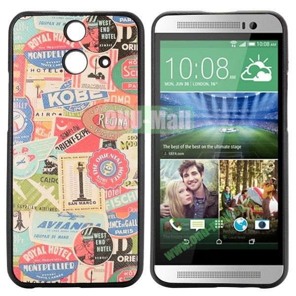 Cartoon Pattern Cross Texture Leather Coated TPU Cover Case for HTC One (E8) Ace (Trademarks)