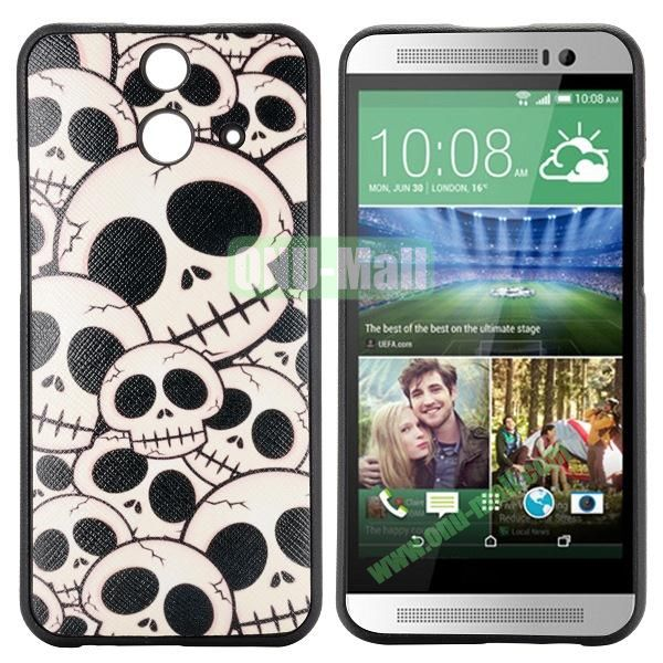 Cartoon Pattern Cross Texture Leather Coated TPU Cover Case for HTC One (E8) Ace (Skull)