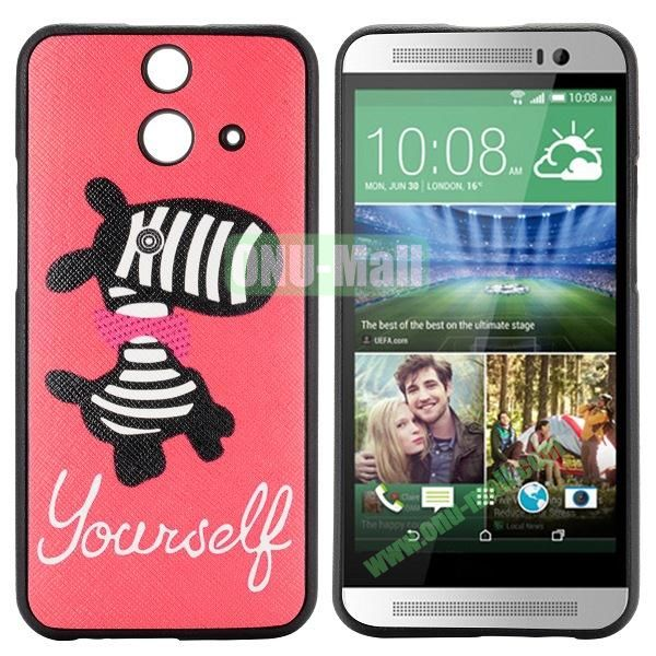 Cartoon Pattern Cross Texture Leather Coated TPU Cover Case for HTC One (E8) Ace (Cute Zebra)