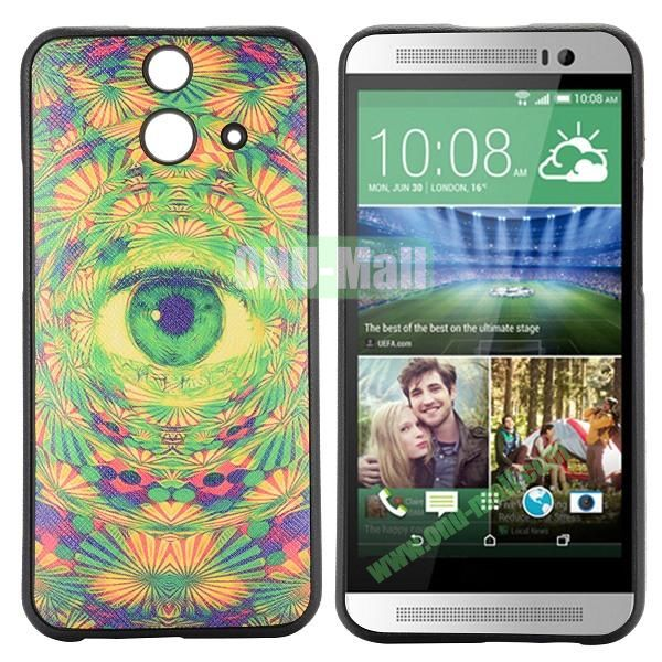 Cartoon Pattern Cross Texture Leather Coated TPU Cover Case for HTC One (E8) Ace (Mysterious Eye)