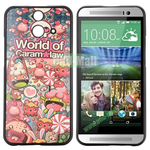 Cartoon Pattern Cross Texture Leather Coated TPU Cover Case for HTC One (E8) Ace (World of Caram Law)
