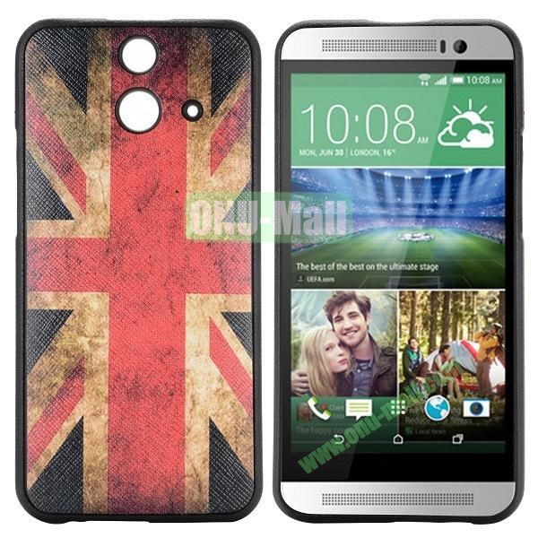 Cartoon Pattern Cross Texture Leather Coated TPU Cover Case for HTC One (E8) Ace (UK National Flag)
