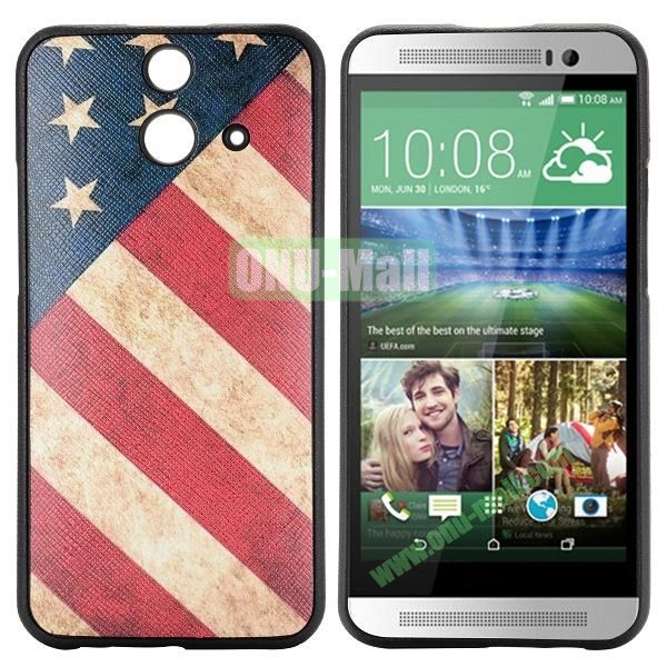Cartoon Pattern Cross Texture Leather Coated TPU Cover Case for HTC One (E8) Ace (USA National Flag)