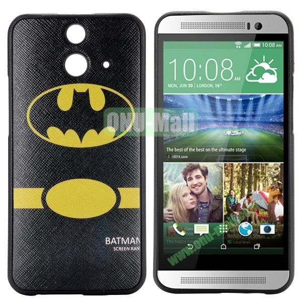 Cartoon Pattern Cross Texture Leather Coated TPU Cover Case for HTC One (E8) Ace (BATMAN)