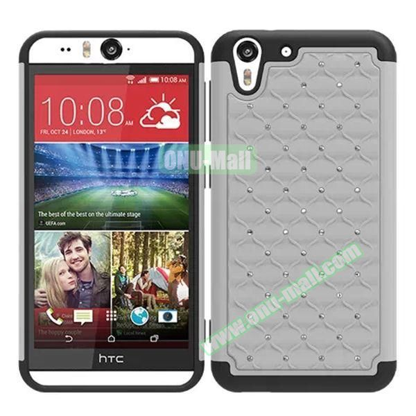 Bling Diamond Studded Hybrid Silicone and PC Case for HTC Desire Eye (White)
