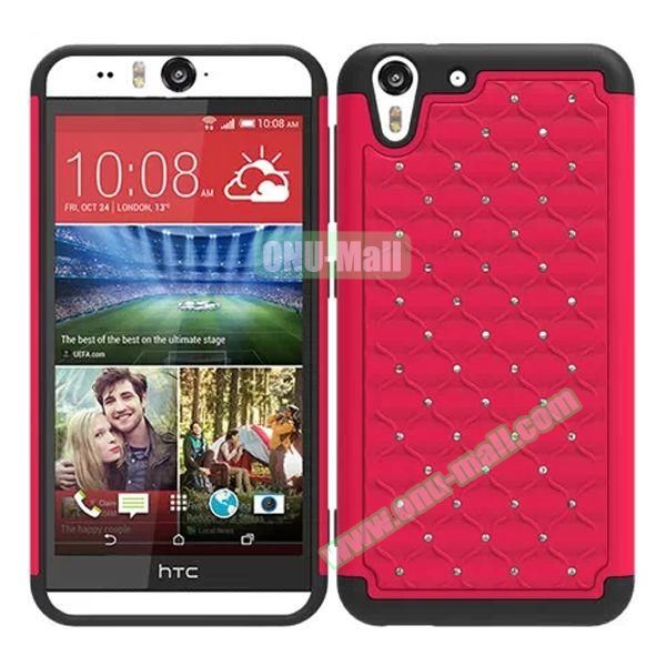 Bling Diamond Studded Hybrid Silicone and PC Case for HTC Desire Eye (Red)