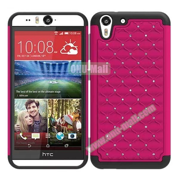 Bling Diamond Studded Hybrid Silicone and PC Case for HTC Desire Eye (Rose)