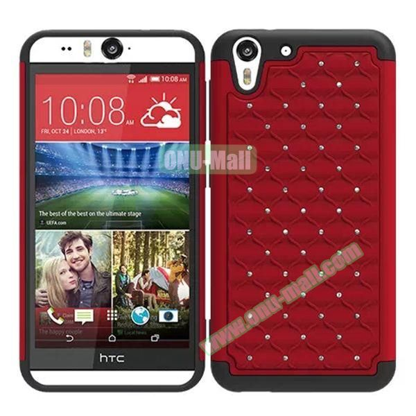 Bling Diamond Studded Hybrid Silicone and PC Case for HTC Desire Eye (Dark Red)